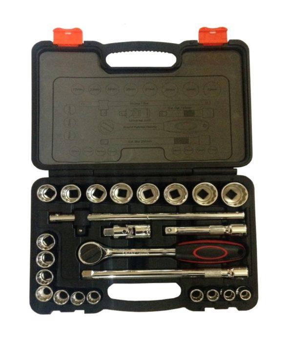 """Ajay Tools 1/2"""" Drive Socket Sets - (Hex - Bi-Hex) (19 Socket + 5 Accessories)"""
